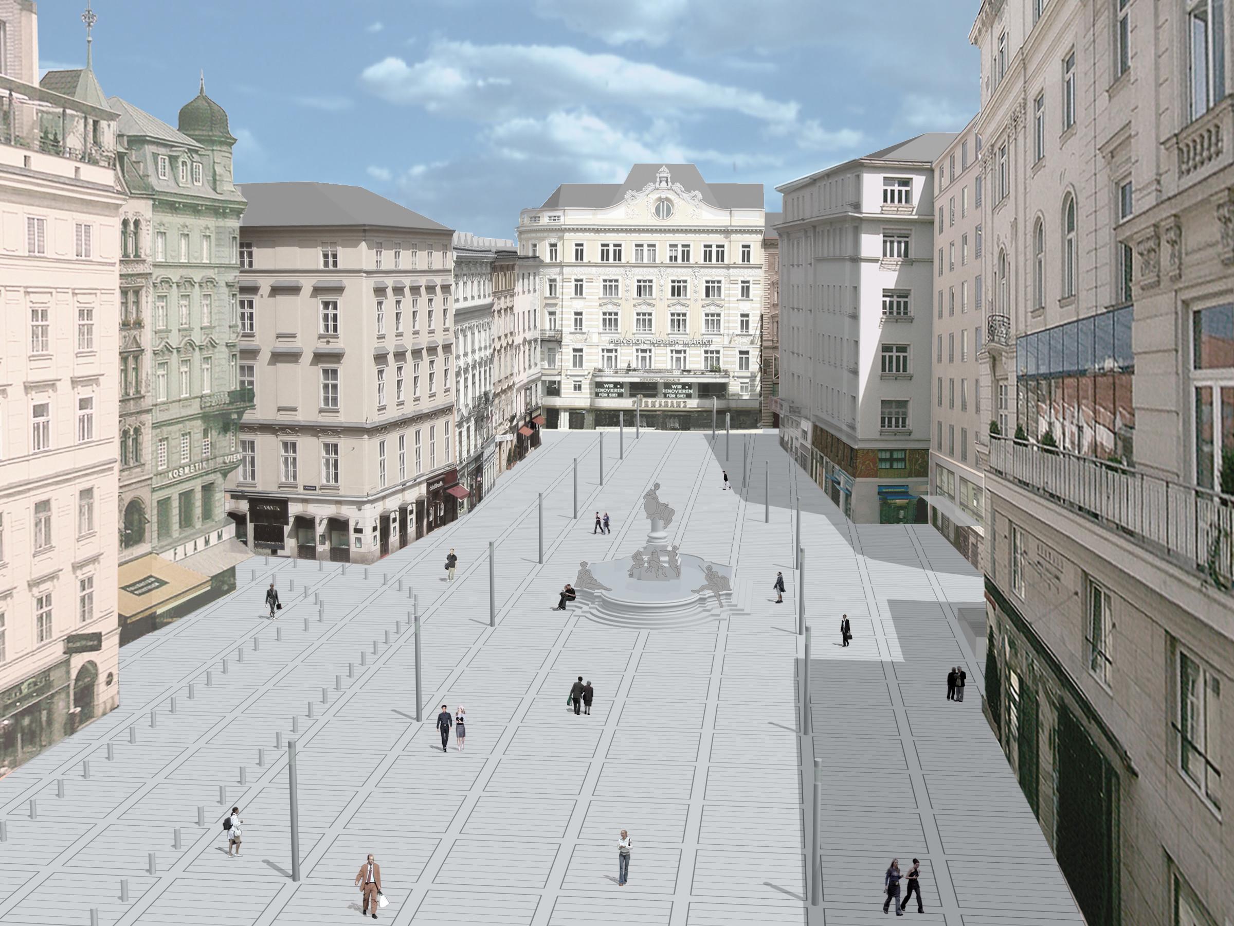 <p>© RUNSER / PRANTL architekten, Neuer Markt Oberflächengestaltung, 1010 Wien, Österreich, Wettbewerb, 2003, Platzgestaltung</p>