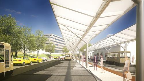 <p>© RUNSER / PRANTL architekten, Bahnhofplatz und Bürogebäude, 2340  Mödling, Niederösterreich, Österreich, 2013, Platzgestaltung, Bürohaus</p>